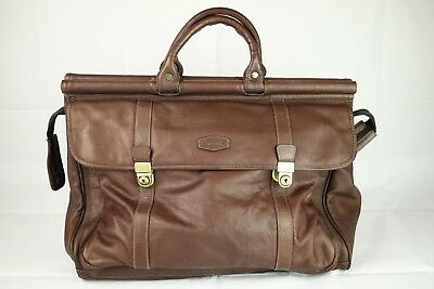 Vintage Oconi Luxury Soft Chestnut Leather Weekend Travel Bag Holdall Suitcase