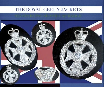 925 Sterling Silver The Royal Green Jackets British Army Officers Cap Badge