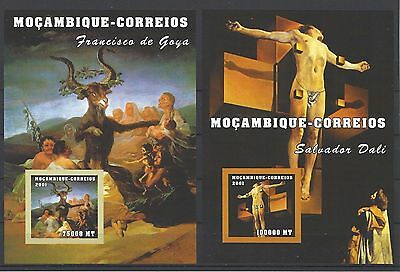 Mozambique 2001 Sc#1500,1506 Paintings by Goya & Dali MNH Imperf. Cat $14.50