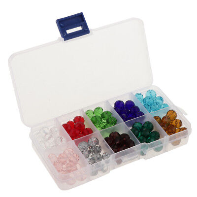 150pcs Mixed Colors 10mm Crystal Glass Rondelle Faceted Loose Spacer Beads