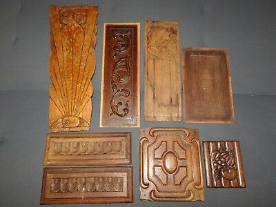 8 Plaques En  Bois Sculpte Deco Restauration Renovation Customisation Diy F444