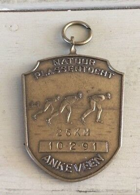Vintage Dutch Ice Skating Medal 25 km Ankeveen, Netherlands, Holland