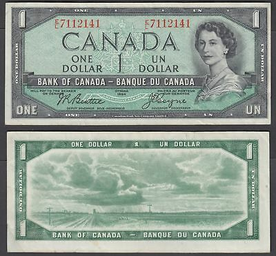 Canada 1 Dollar 1954 (VF) Condition Banknote (1955-61) P-74a QEII