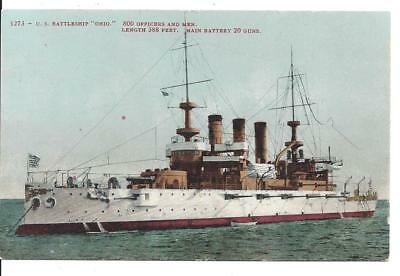 A NICE WWI US NAVY COLOR PC: USS OHIO - ca. 1910