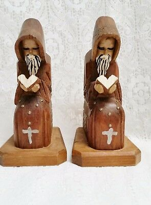 """Two Hand Carved Wood Bookends - Priests Monks Friars Holding a Book - 6 1/8"""""""