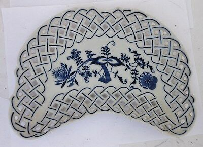 Antique Blue Onion Porcelain Reticulated Side Dish