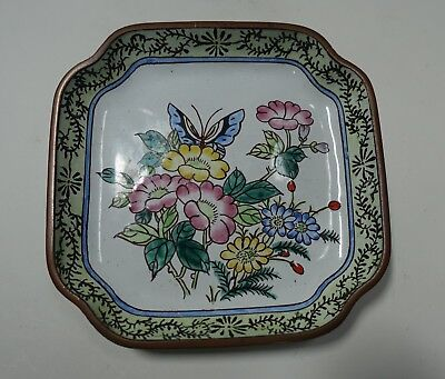 #M733 VINTAGE CHINESE CANTON HAND PAINTED ENAMEL PLATE flowers & butterfly