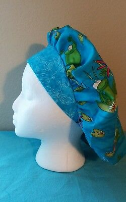 Frogs Bouffant Women's Surgical Scrub Hat/Cap Handmade