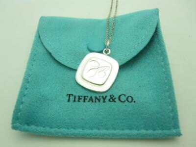 RARE Tiffany & Co. Sterling Silver Square Olive Leaf Charm Pendant Necklace 16""