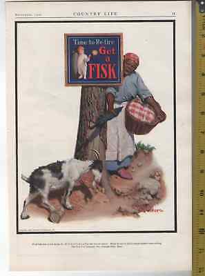 1924 & 26 3 Ad Lot Fisk Tires Maid, Goat, Hobo, Cat, Dog Normal Rockwell 11x13