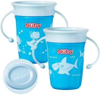 Nuby Sipeez 360 Degree Wonder Mini Cups Assorted Colors 2 Beaker Spill Proof 8o