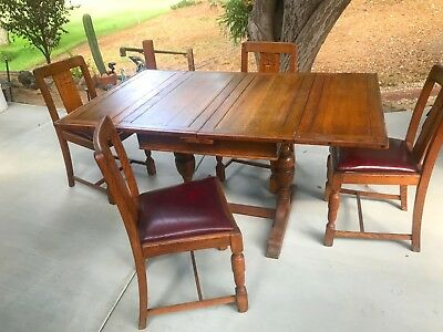 Vintage Carved English Oak Draw Leaf Dining Table and 4 chairs, circa 1900
