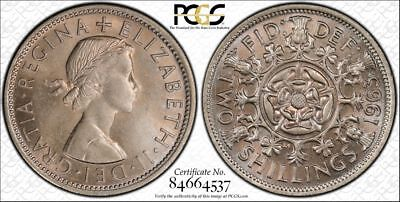 1963 Great Britain Two Shillings PCGS MS64 Rose color toned Top Population