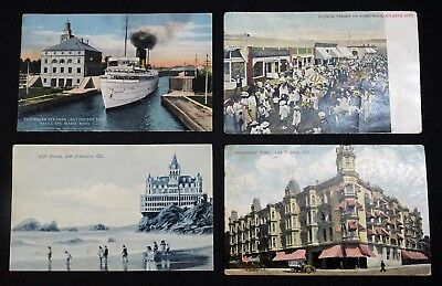 Vintage Postcards Lot Of 10 Famous U.s. Landmarks Used And Blank Some Stamps