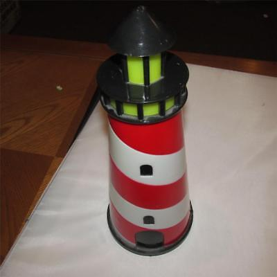 """12"""" lighted Lighthouse red white striped night light battery operated plastic"""