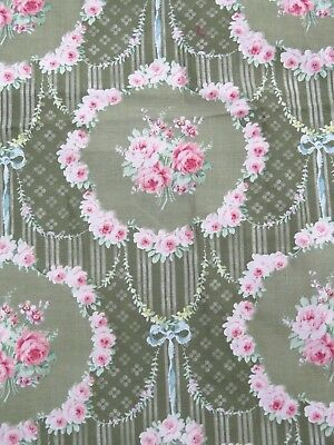 "French Antique c1906 Cotton Sateen Pink Roses & Ribbons Fabric Sample~ 20""LX16""W"