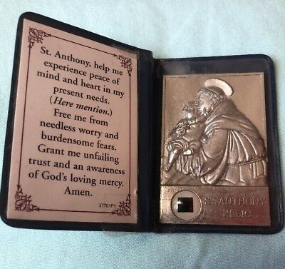 RELIC ST ANTHONY OF PADUA, PRAY FOR US PRAYER Religious Faith In Blue Case