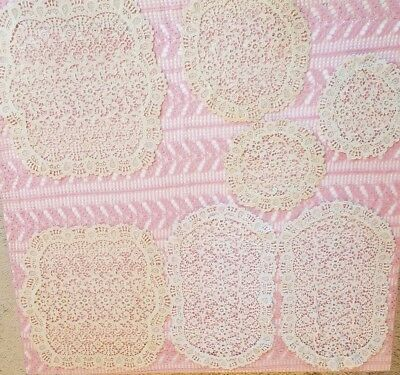 Vintage Handmade Crochet Lace Doilies Shabby Chic French Cottage Lot of 7 Mixed
