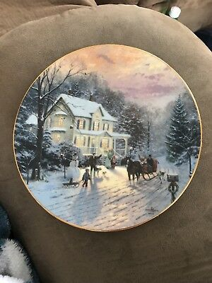 "THOMAS KINKADE ""A Sleigh Ride Home"" Limited Edition Knowles Collectors Plate"