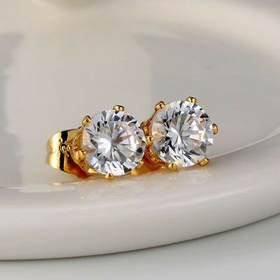 Stud earrings 18k Yellow Gold Filled Fashion ear stud 8mm GF Wedding Jewelry
