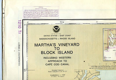 1990 Martha's Vineyard To Block Island Nautical Chart--Training Map