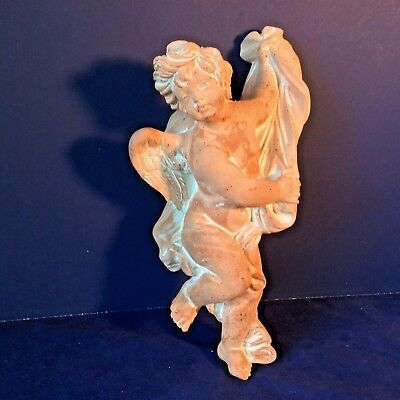 "Christmas Cherub Angel Terracotta Plaster White Washed Full Body Sweet 11""l Vtg"
