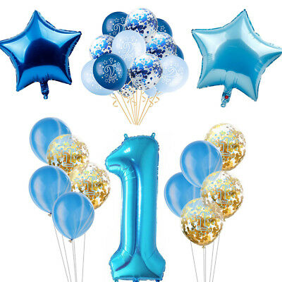 Blue Theme Party Boy Birthday Baby Shower Balloon Banner Paper Decor Supplies