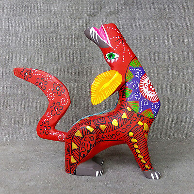 Gorgeous Oaxacan Wood Carving Coyote Alebrije. Mexican Folk Art.