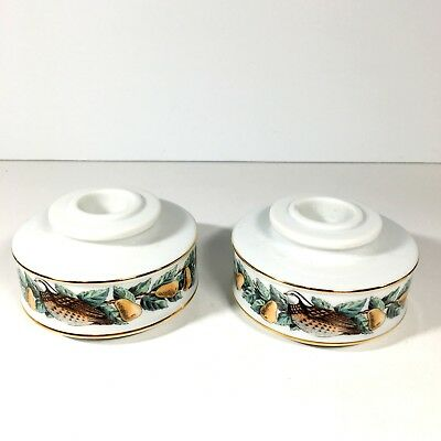 Pair Avon Porcelain Taper Candle Holders Pears Partridge Christmas