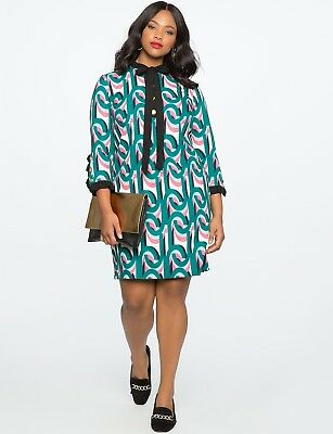 76c74273ed4d0 Eloquii green NWT Plus Size Printed ruffle colorful 70s inspired dress Size  22