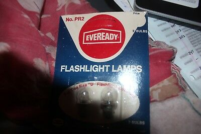1 Pack of 2 Eveready PR2  Replacement Lamp Flashlight Bulbs 2 Size D batteries