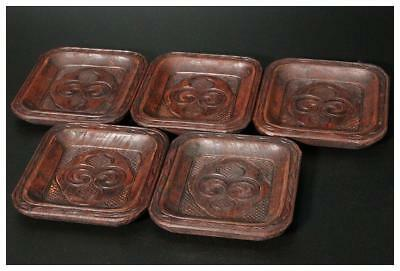 AIN21 Japanese Antique Ainu wooden small square 5 plate #Japan