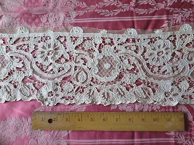 """Antique 19thC French Lace & Cutwork Hand Tambour On Linen~Bridal,Design~40""""LX6""""W"""
