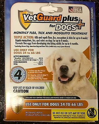 8 Month Supply VetGuard Plus for Large Dogs 34 to 66 lbs Flea Tick & Mosquito
