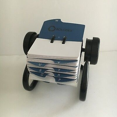 Rolodex Rotary Black Metal with Blank Unused Cards