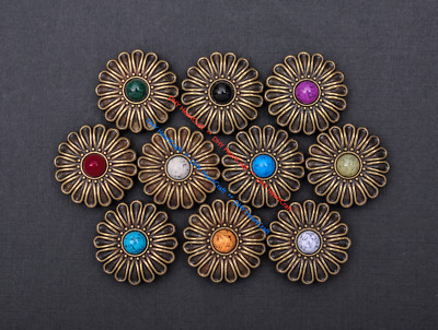 10X 30mm Copper Western Flower Turquoise Conchos For Saddles Leathercrafts Decor