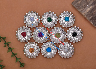 10X 30mm Silver Western Flower Turquoise Conchos For Saddles Leathercrafts Decor
