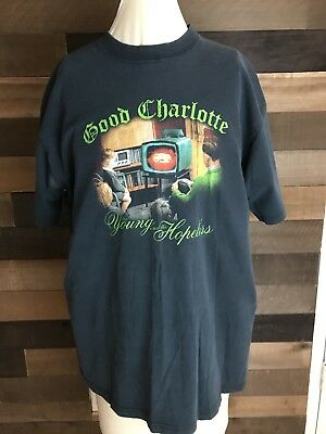 "GOOD CHARLOTTE Vintage T-Shirt Lg Black Shirt 2000's ""Young And The Hopeless"""
