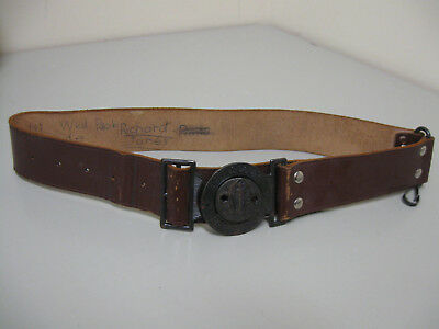 """Vintage """"Be Prepared"""" Boy Scouts Leather Belt With Two-Part Interlocking Buckle"""
