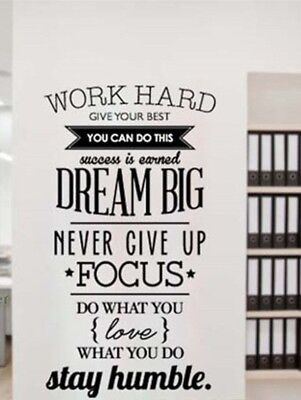 Work Hard Dream Big Stay Humble Removable Wall Decal Quote Stickers