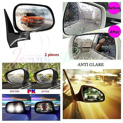 2Pcs Car Rearview Mirror Waterproof Membrane Anti-fog Anti-Glare Film Stick