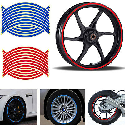"UK Motorbike Car Reflective Wheel Rim Trim Tape Sticker Up to 18"" Red Pack of 16"