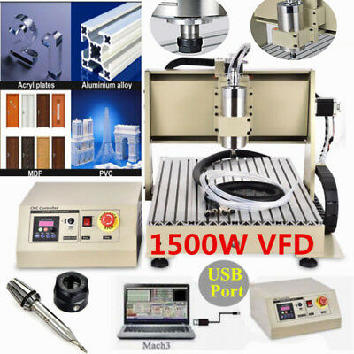 USB 3 Axis 6040 1500W VFD CNC Router Engraver Drilling Machine Cutter 220V