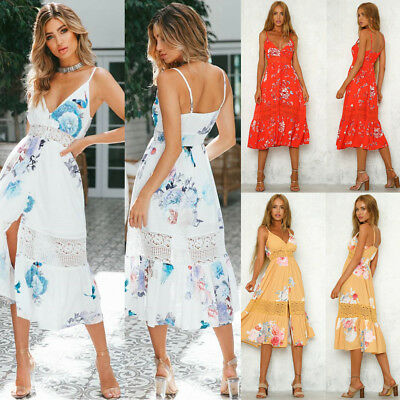 Women's Boho Floral Long Maxi Dress Evening Party Beach Dresses Summer Sundress