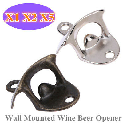 5X Vintage Bottle Opener Wall Mounted Beer Glass Cap Opener Kitchen Bar Tool AU