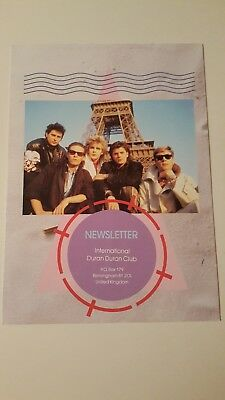 Duran Duran Vintage 1980s UK Fan Club Newsletter - A View To A Kill era