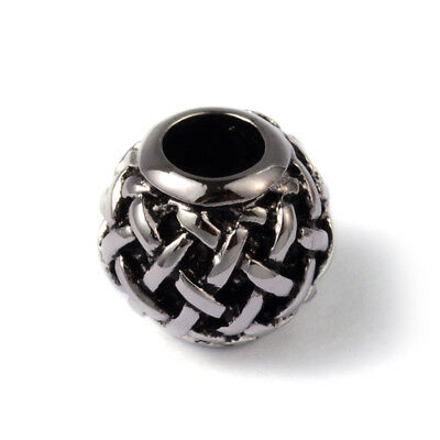 10pcs Antiqued 316 Stainless Steel European Beads Braided Large Hole Charms 12mm