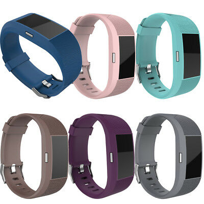 Watch Strap For Fitbit Charge 2 Replacement Band Bracelet Silicone/Silver Buckle