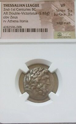 Thessalian League 2nd-1st Centuries BC Doube-Victoriatus NGC VF 5/3 w/ ZEUS Coin