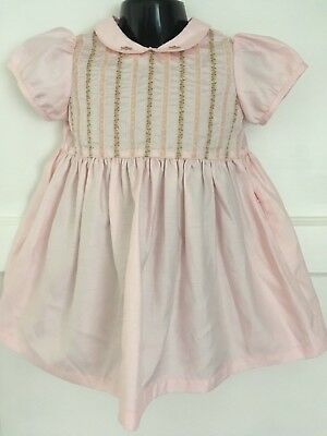 Vintage Marks & Spencers Pretty Satin Dress With Floral Trim 18-24 Mths
